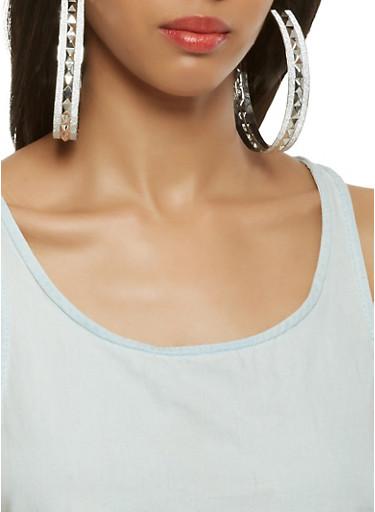Oversized Metallic Glitter Hoop Earrings,SILVER,large