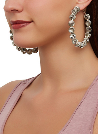 Beaded Ball Hoop Earrings,SILVER,large
