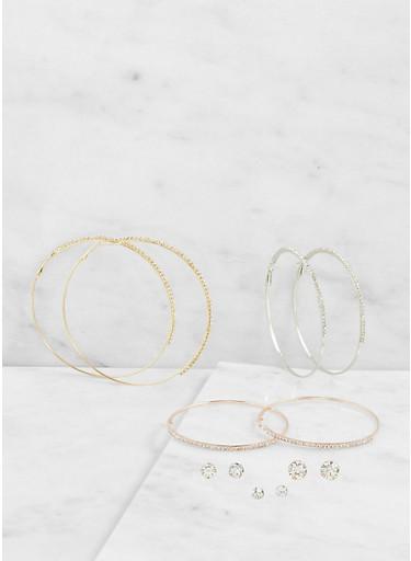 Rhinestone Hoop and Stud Earrings Set,MULTI COLOR,large