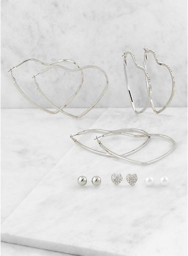 Heart Hoop and Stud Earrings Set,SILVER,large