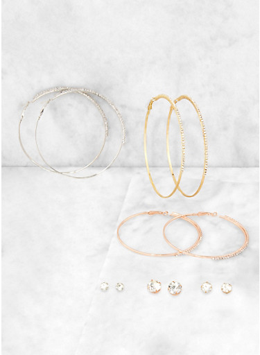 Multi Size Stud and Hoop Earrings Set,TRITONE (SLVR/GLD/HEMAT),large