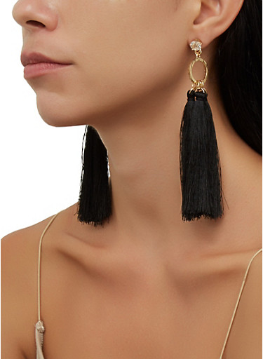 Rhinestone Circle Tassel Earrings,BLACK,large