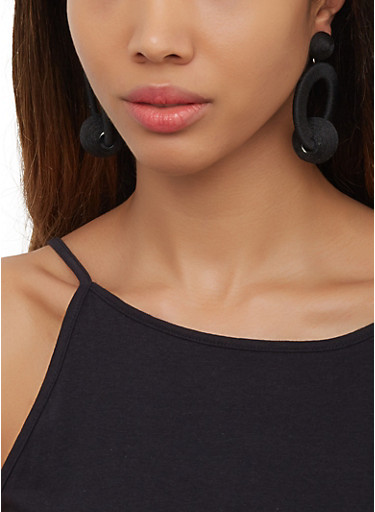 Thread Wrapped Earrings,BLACK,large