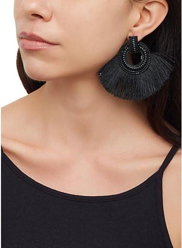 Fringe Disc Earrings,BLACK,large