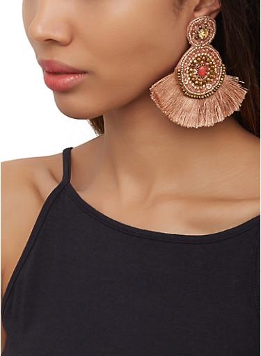 Beaded Fringe Felt Earrings,MAUVE,large