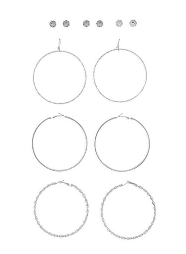 Metallic Hoop and Rhinestone Stud Earrings,SILVER,large
