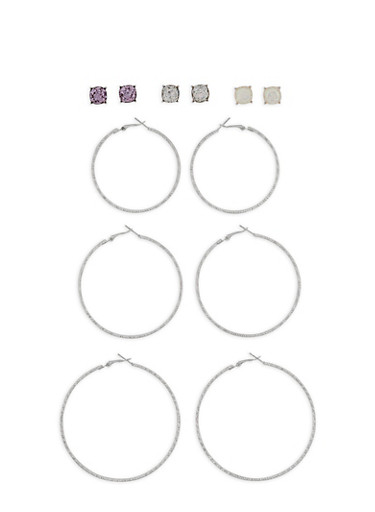 Stud and Glitter Hoop Earring Set,SILVER,large