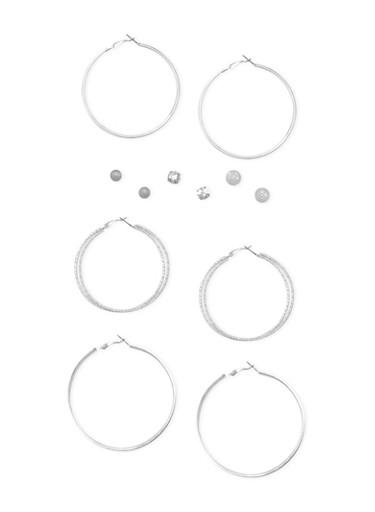 Set of 6 Assorted Hoop and Rhinestone Stud Earrings,SILVER,large