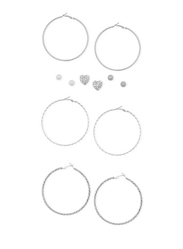 Set of 6 Assorted Stud and Hoop Earrings,SILVER,large