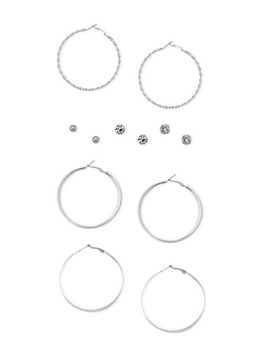 Set of 6 Assorted Rhinestone and Multi Textured Stud and Hoop Earrings,SILVER,large