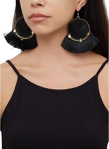 Beaded Thread Fringe Drop Earrings,BLACK,large