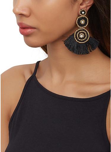 Beaded Triple Disc Fringe Earrings,BLACK,large