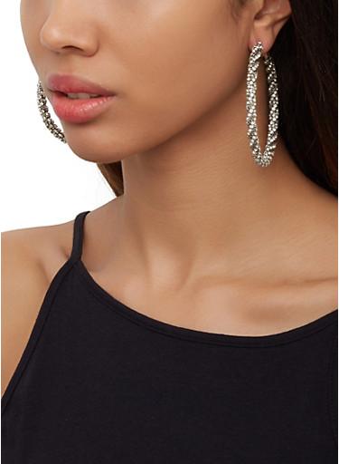 Rhinestone Wrapped Hoop Earrings,SILVER,large