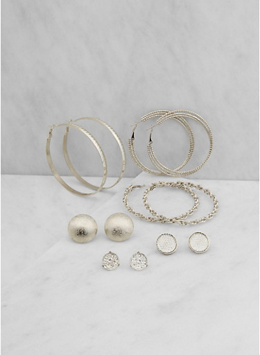 Assorted Set of Stud and Hoop Earrings,SILVER,large
