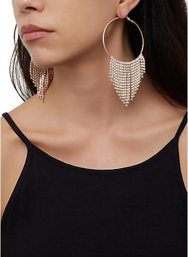 Rhinestone Fringe Hoop Earrings | 3122062817394,ROSE,large
