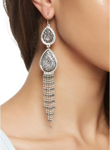 Rhinestone Fringe Drop Earrings,SILVER,large
