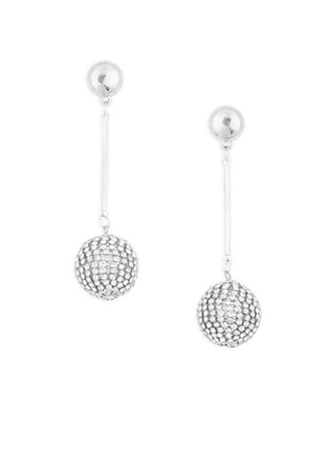Rhinestone Disco Ball Drop Earrings,SILVER,large