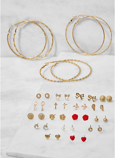 Set of 20 Assorted Stud and Hoop Earrings,GOLD,large