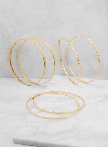 Jumbo Glitter Hoop Earring Trio,GOLD,large