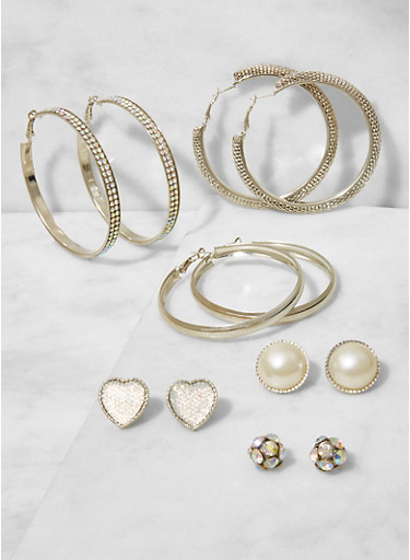 Assorted Set of Hoop and Stud Earrings,SILVER,large