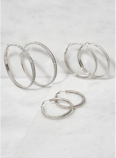 Rhinestone Metallic Hoop Earrings Trio,SILVER,large