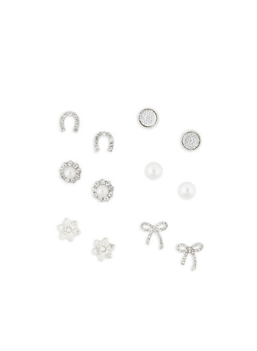 Set of 6 Rhinestone Stud Earrings,SILVER,large