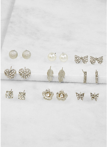 Set of 9 Assorted Stud Earrings,SILVER,large