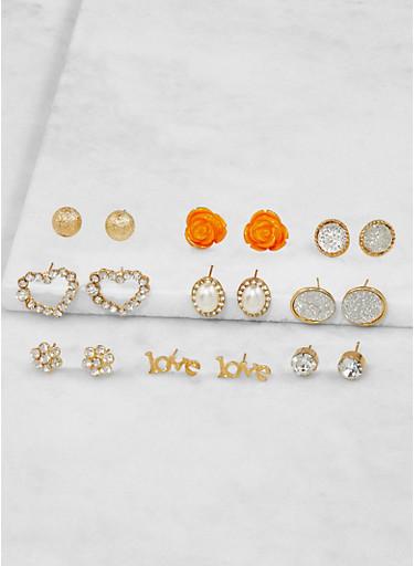 Assorted Flower Stud Earrings Set,GOLD,large