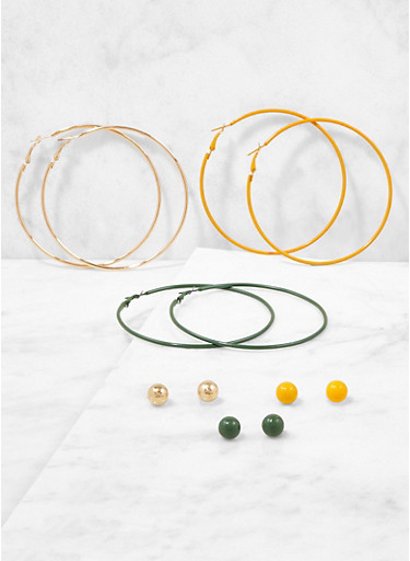Set of 6 Assorted Stud and Hoop Earrings,OLIVE,large