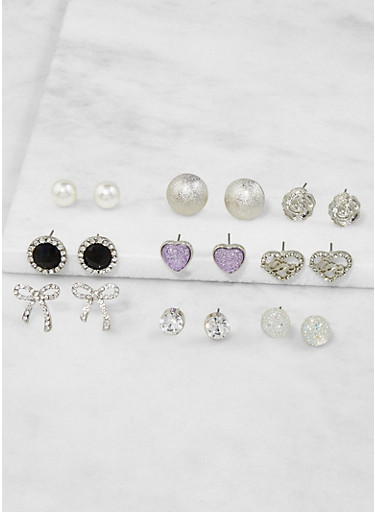 Assorted Metallic Rhinestone Stud Earrings Set,SILVER,large