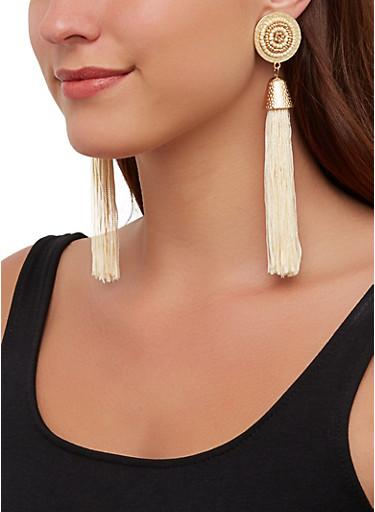 Beaded Metallic Disc Tassel Earrings,TAN,large