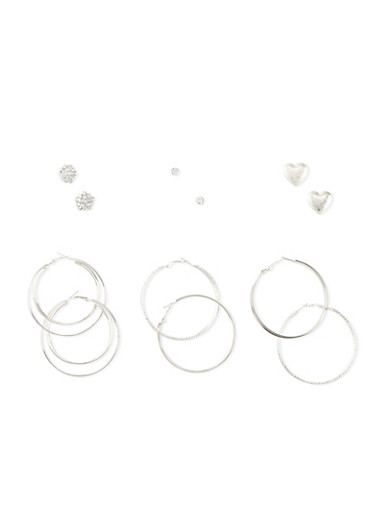 Set of 6 Stud and Layered Glitter Hoop Earrings,SILVER,large