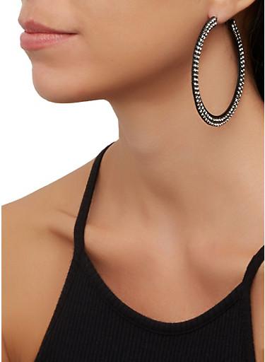 Rhinestone Flat Hoop Earrings,BLACK,large