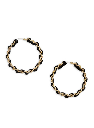 Woven Curb Chain Hoop Earrings,BLACK,large