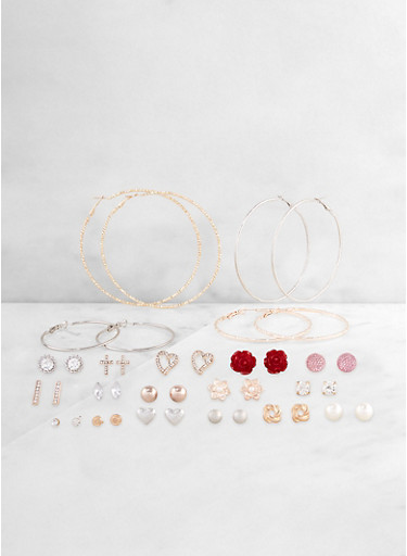 Metallic Hoop and Stud Earrings Set   3122062924801,TRITONE (SLVR/GLD/HEMAT),large