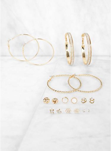 9 Assorted Metallic Hoop and Stud Earrings,GOLD,large