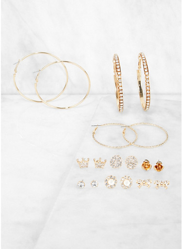 Set of 9 Assorted Hoop and Bow Stud Earrings,GOLD,large