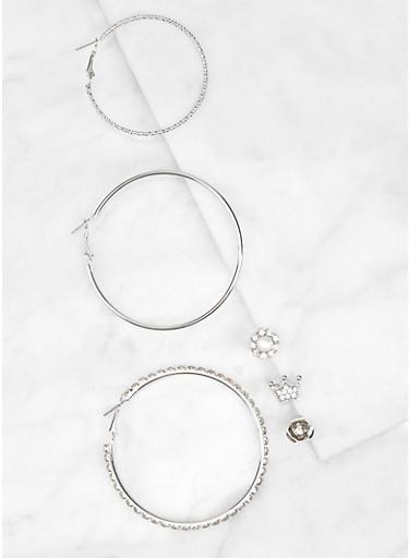 Rhinestone Metallic Hoop and Stud Earrings Set,SILVER,large