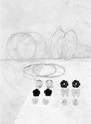 Rose Bud Stud and Metallic Hoop Earrings,SILVER,large