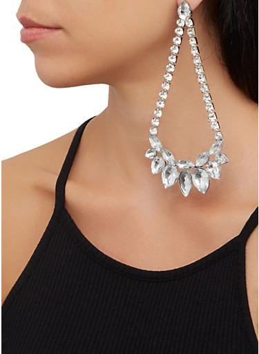 Rhinestone Teardrop Chandelier Earrings,SILVER,large