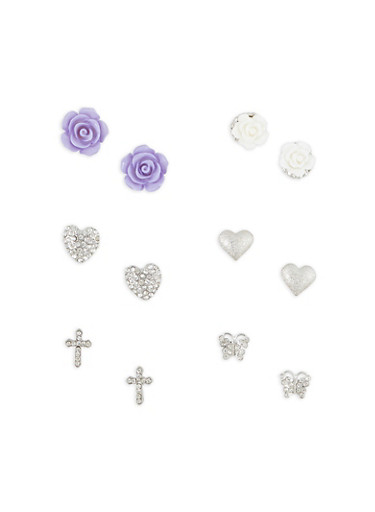 Assorted Stud Earrings,SILVER,large
