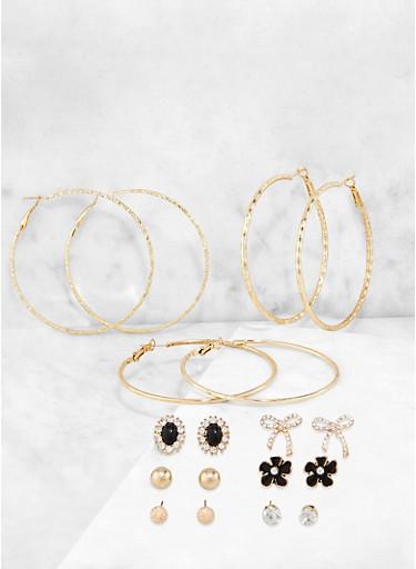 Rhinestone Bow Stud and Metallic Hoop Earrings,GOLD,large