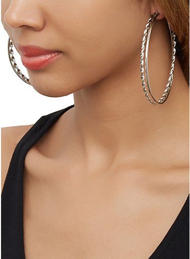 Set of 6 Assorted Hoop Earrings,SILVER,large