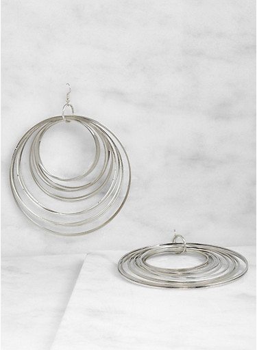 Metallic Layered Hoop Earrings,SILVER,large