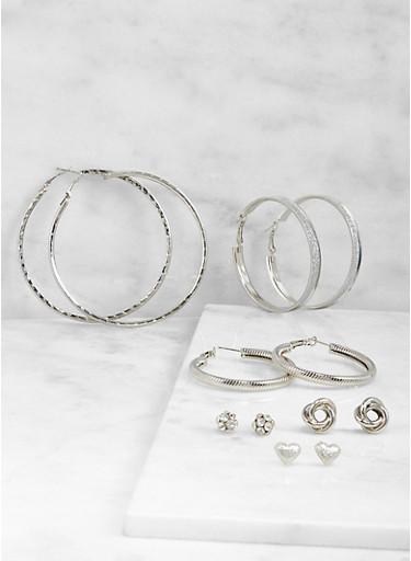 Assorted Hoop and Stud Earrings Set,SILVER,large