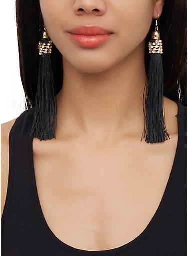 Long Rhinestone Tassel Earrings,BLACK,large