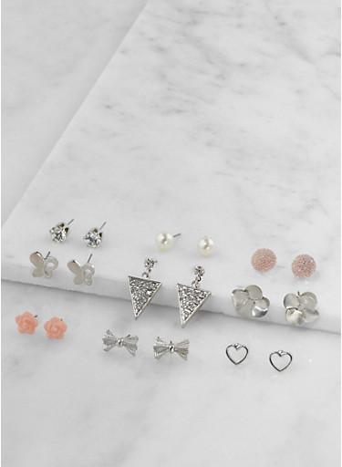 Set of 9 Metallic Rhinestone Stud Earrings | Tuggl