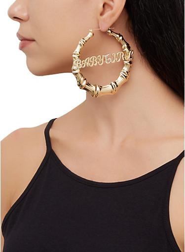Baby Girl Metallic Bamboo Hoop Earrings,GOLD,large