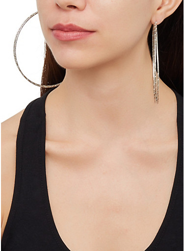 Oversized Metallic Hoop Earring Trio,SILVER,large