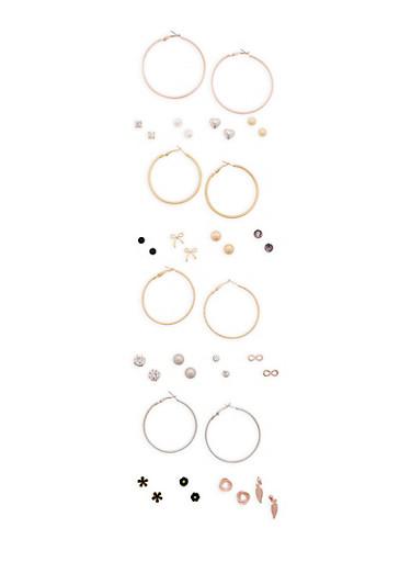 Assorted Set of Stud and Hoop Earrings,TRITONE (SLVR/GLD/HEMAT),large